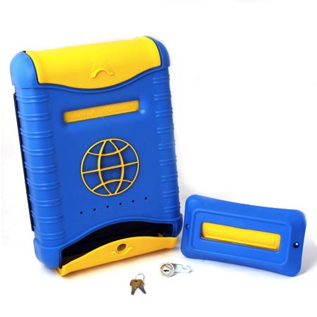 Почтовый ящик Стандарт (с накладкой), пластиковый, сине-желтый
